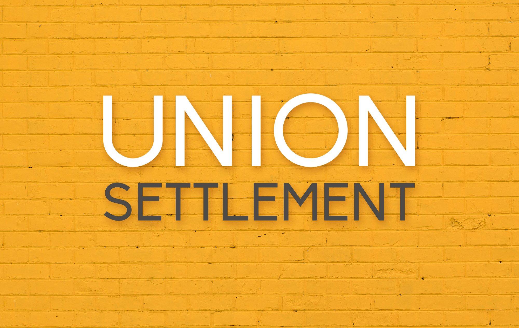 Union Settlement logo against brick background