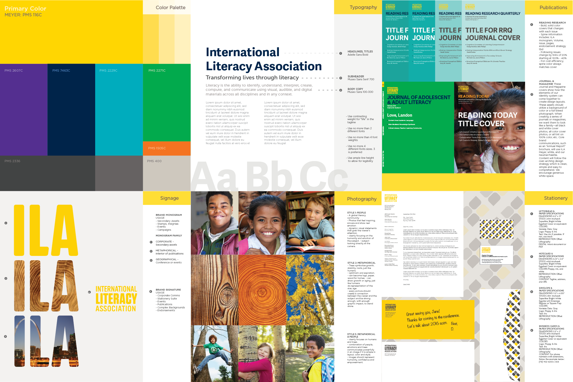 Collage of ILA's new brand guidelines created by Ideon