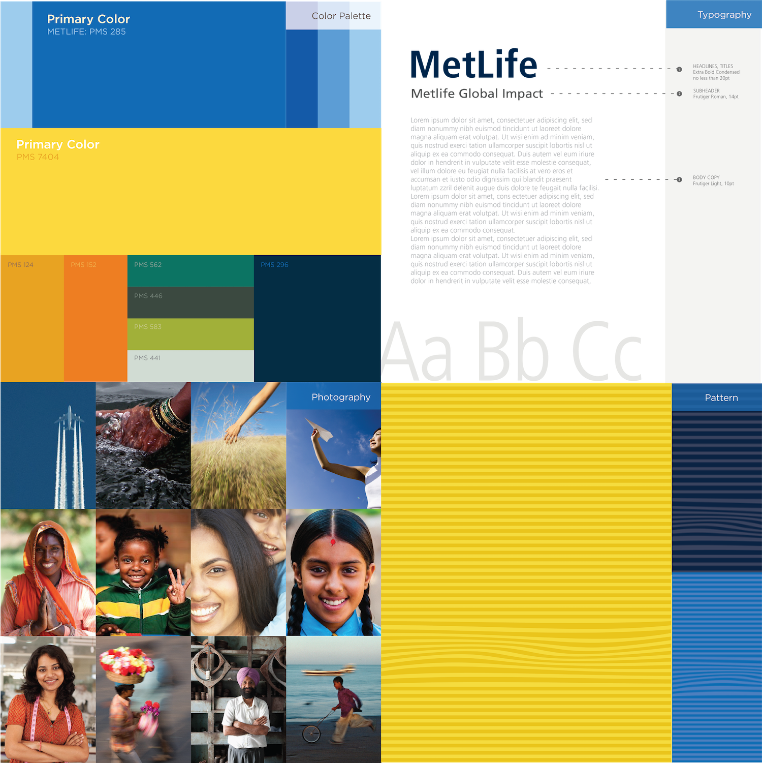 MetLife brand guidelines, color palatte, image strategy