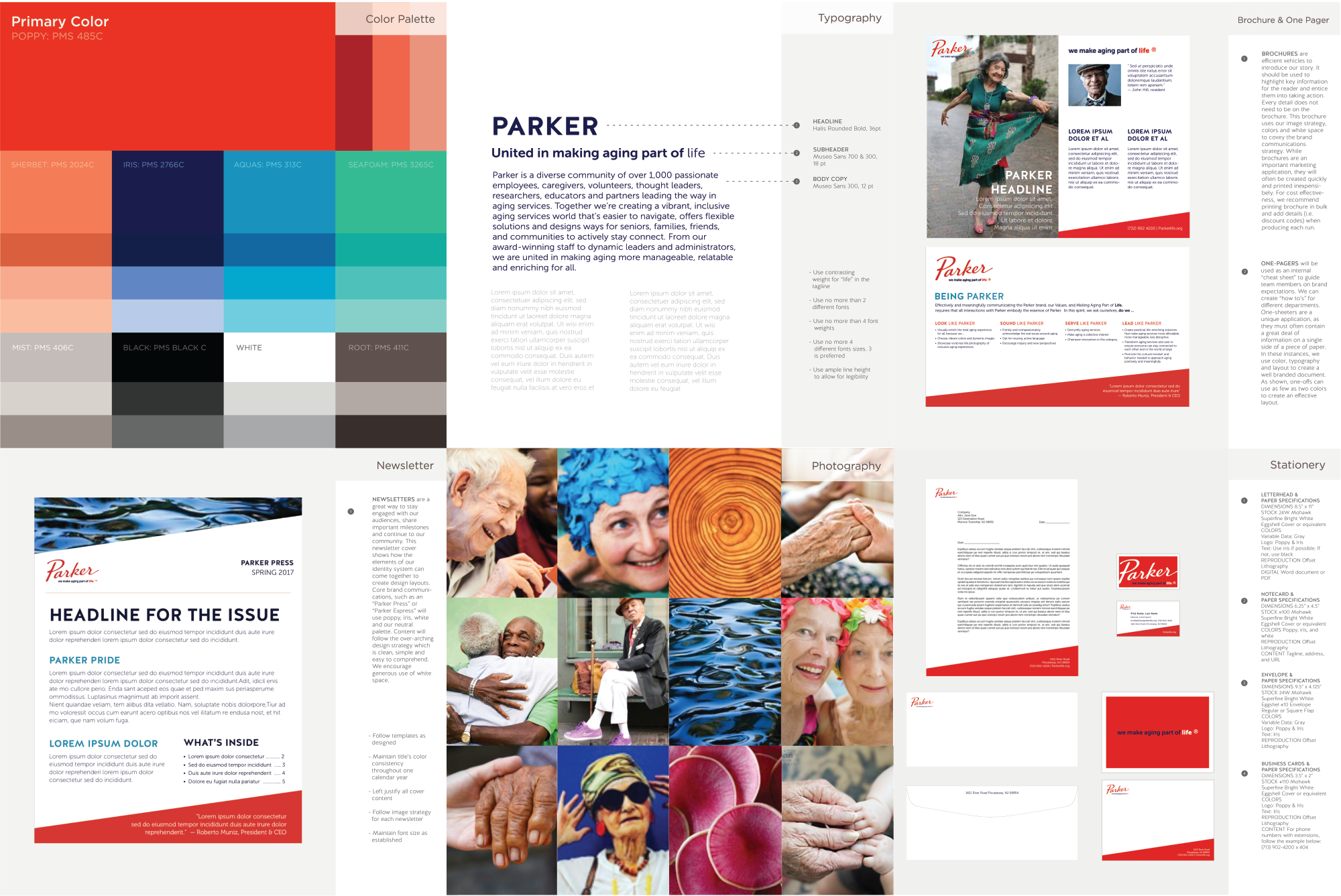 Overview of brand guidelines designed by Ideon for Parker