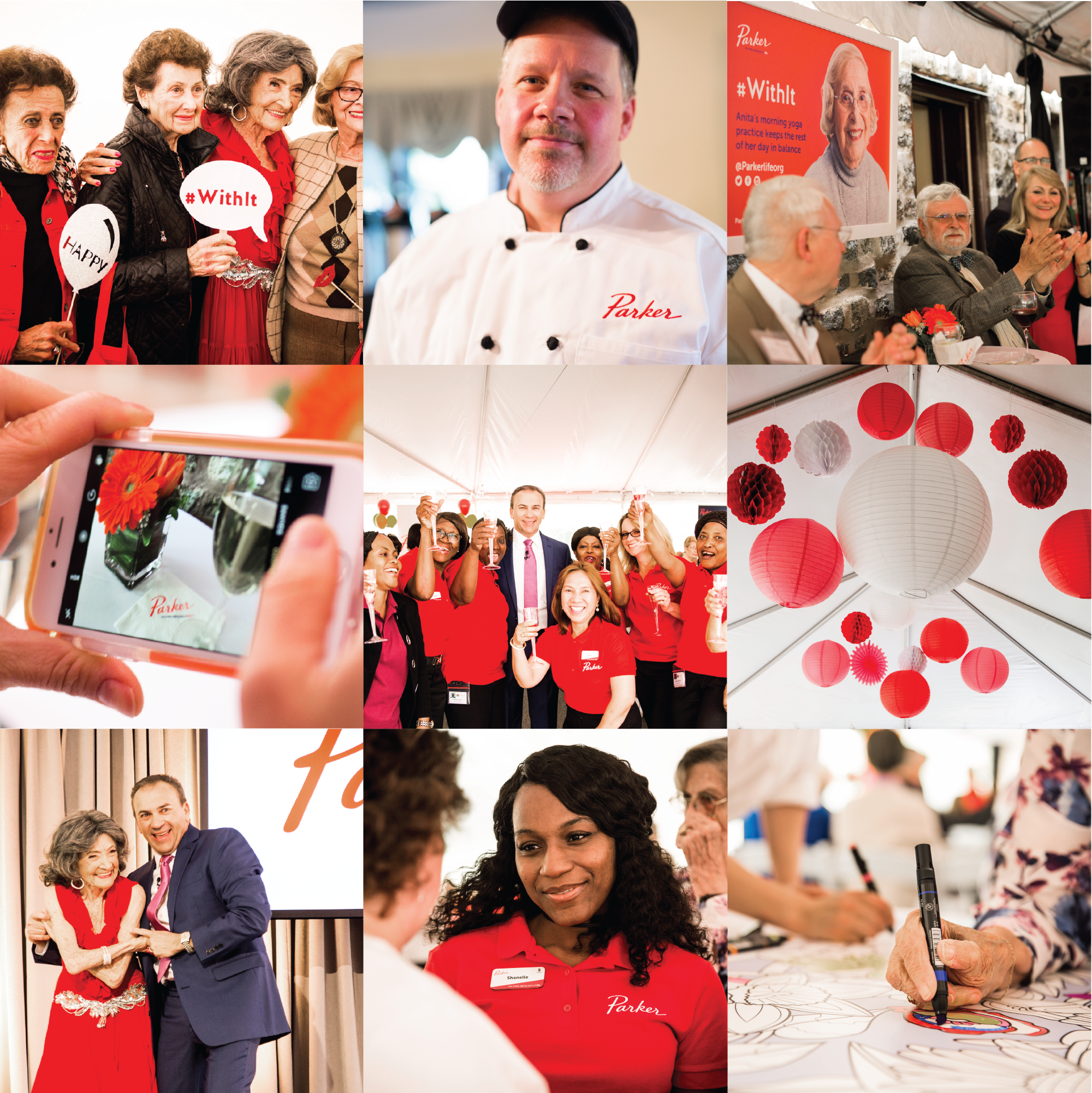 Collage of Parker's 6 brand launch events featuring residents, staff, and the broader community.